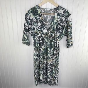 5th & Love Paisley White Green Trapeze Dress Large